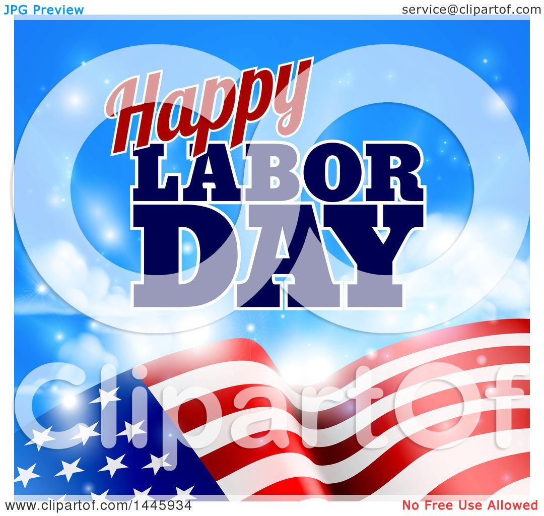 clipart of a waving american flag with flares under happy labor