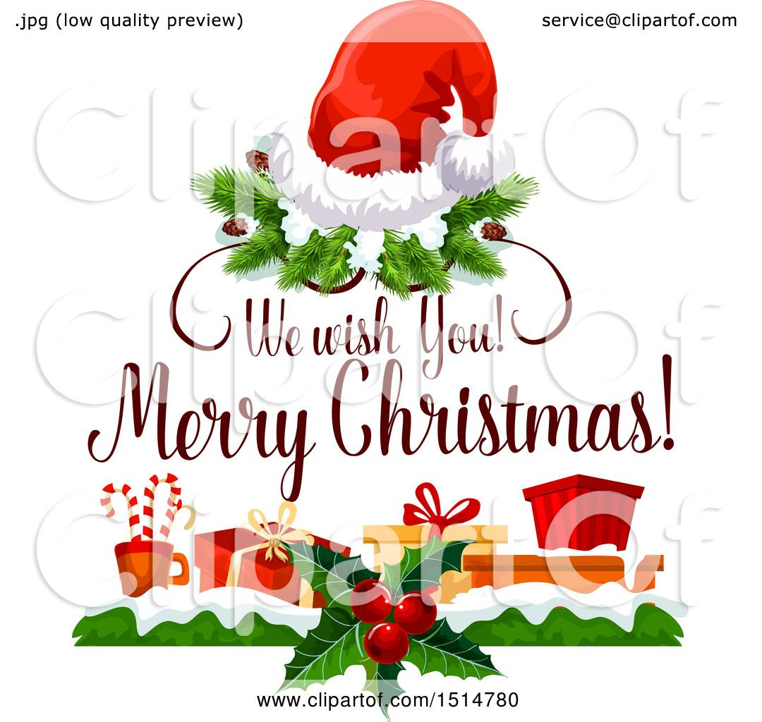 Clipart Of A We Wish You A Merry Christmas Greeting With Gifts And A