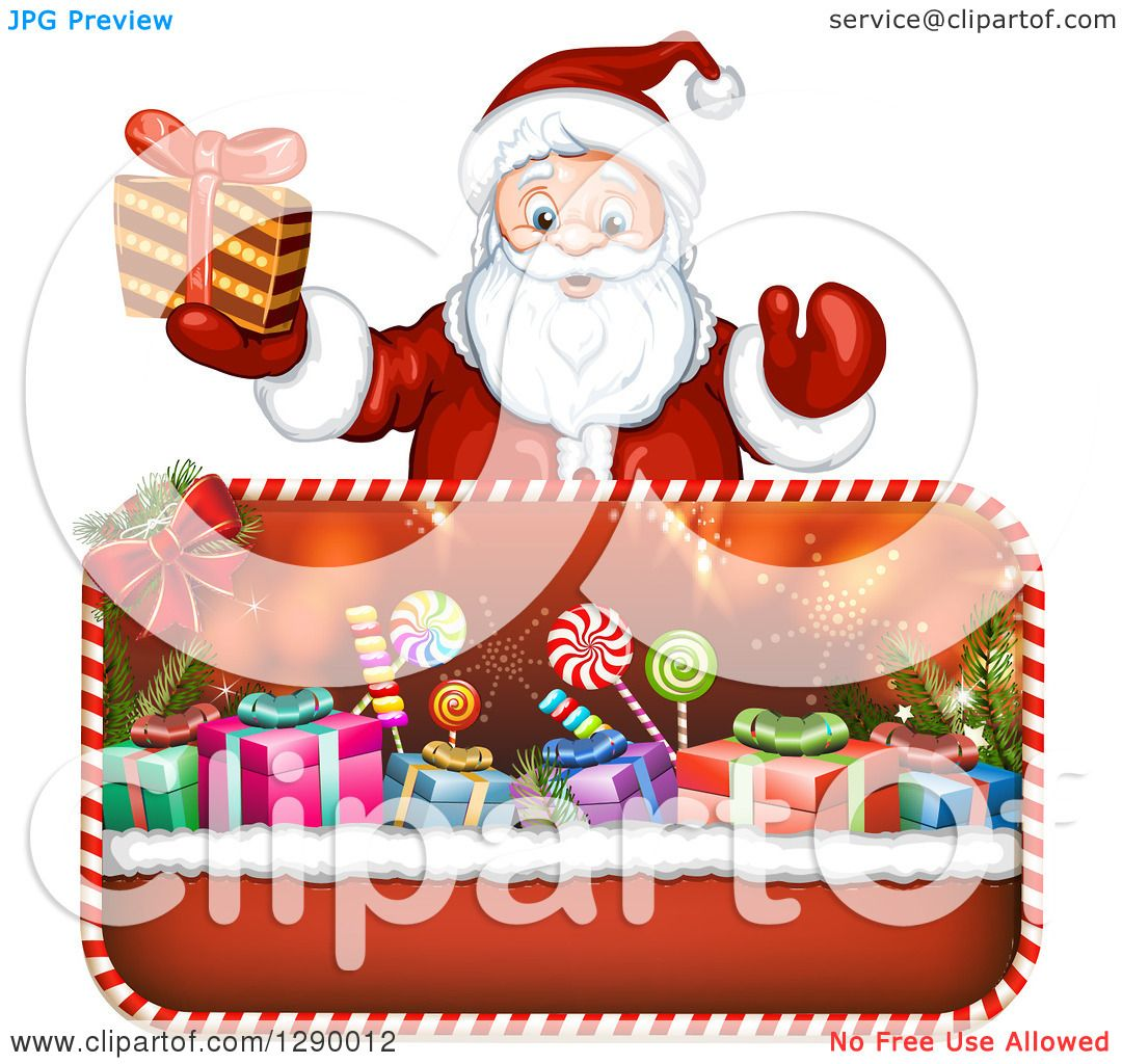 Clipart of a welcoming santa claus holding a christmas gift over clipart of a welcoming santa claus holding a christmas gift over framed presents royalty free vector illustration by merlinul jeuxipadfo Choice Image