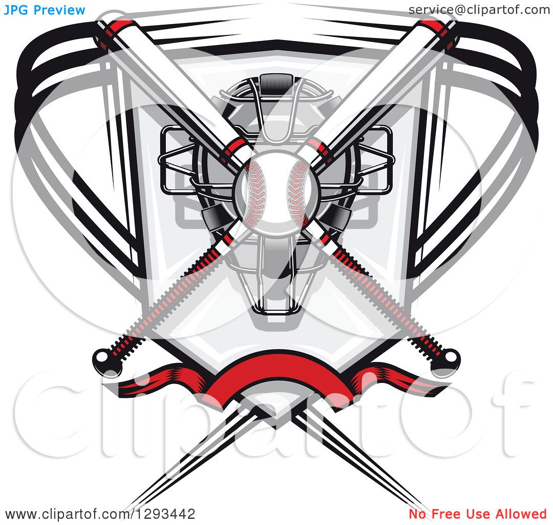 Clipart Of A White And Red Baseball And Crossed Bats Over A Catchers