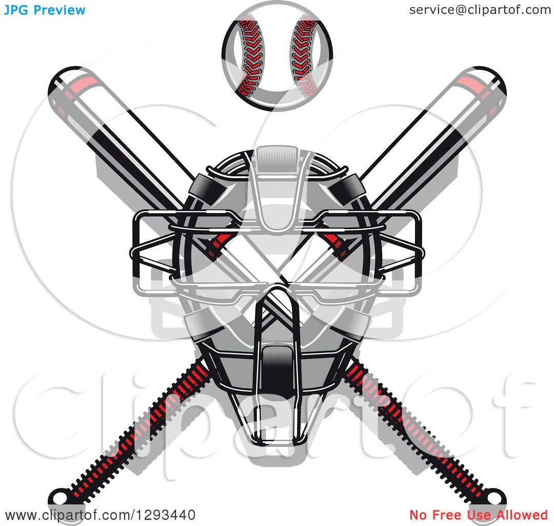 Clipart Of A White And Red Baseball And Crossed Bats With A Catchers