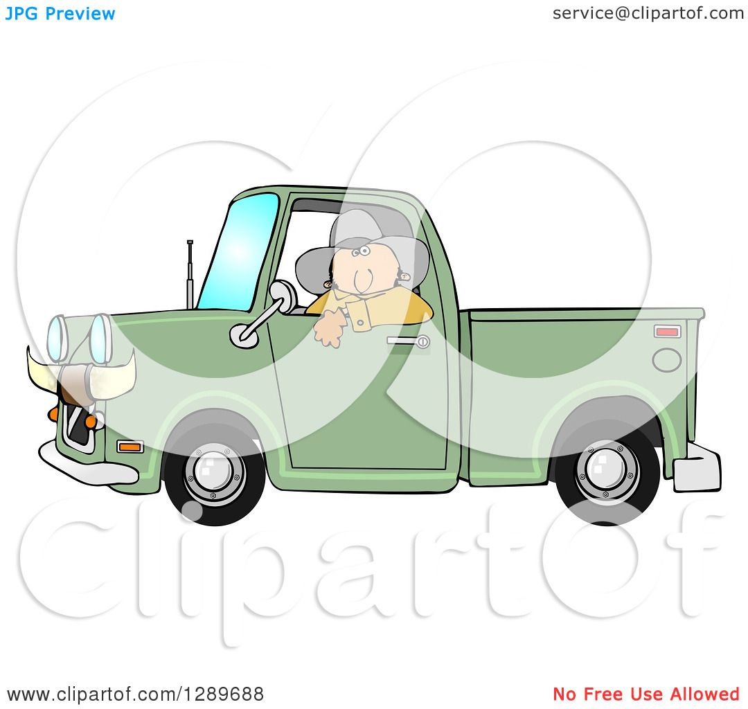 Green truck clipart royalty free rf pickup truck clipart - Clipart Of A White Cowboy Looking Out Of The Window Of His Green Pickup Truck With Horns On The Front Royalty Free Illustration By Djart