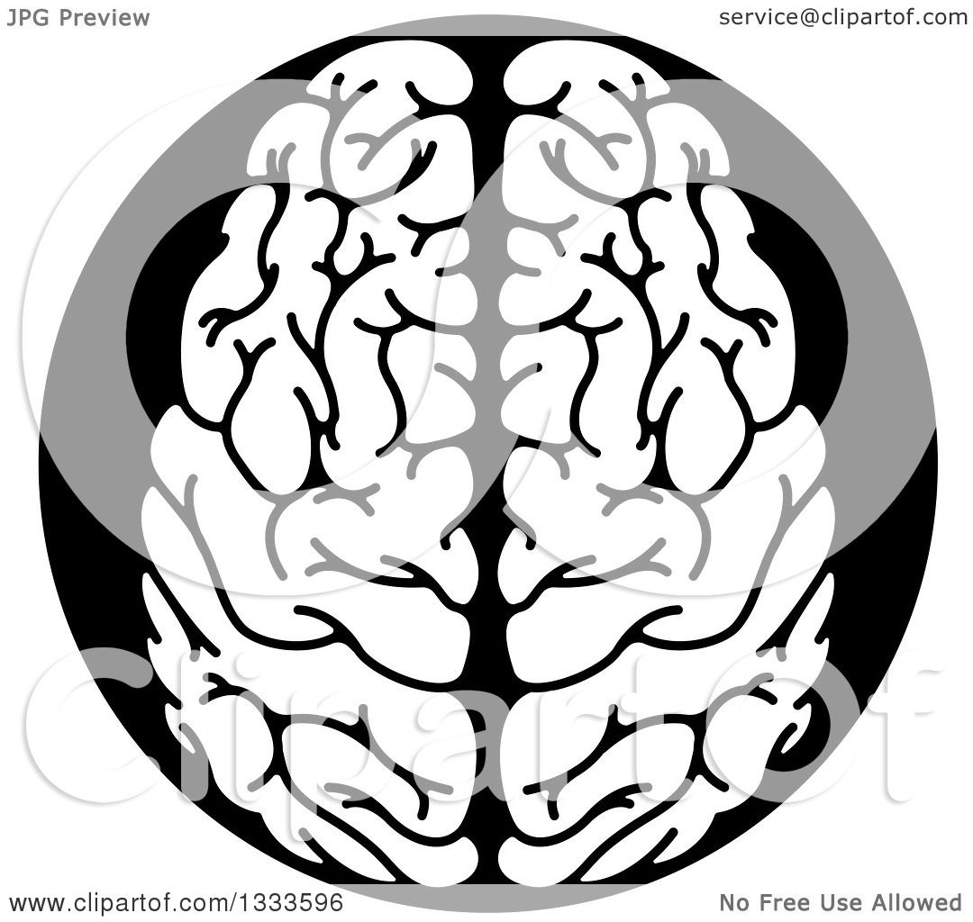 Clipart of a White Human Brain in a Black Circle - Royalty ...