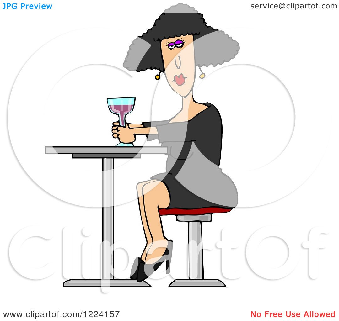 Clipart Of A White Lady Drinking A Cocktail At A Table