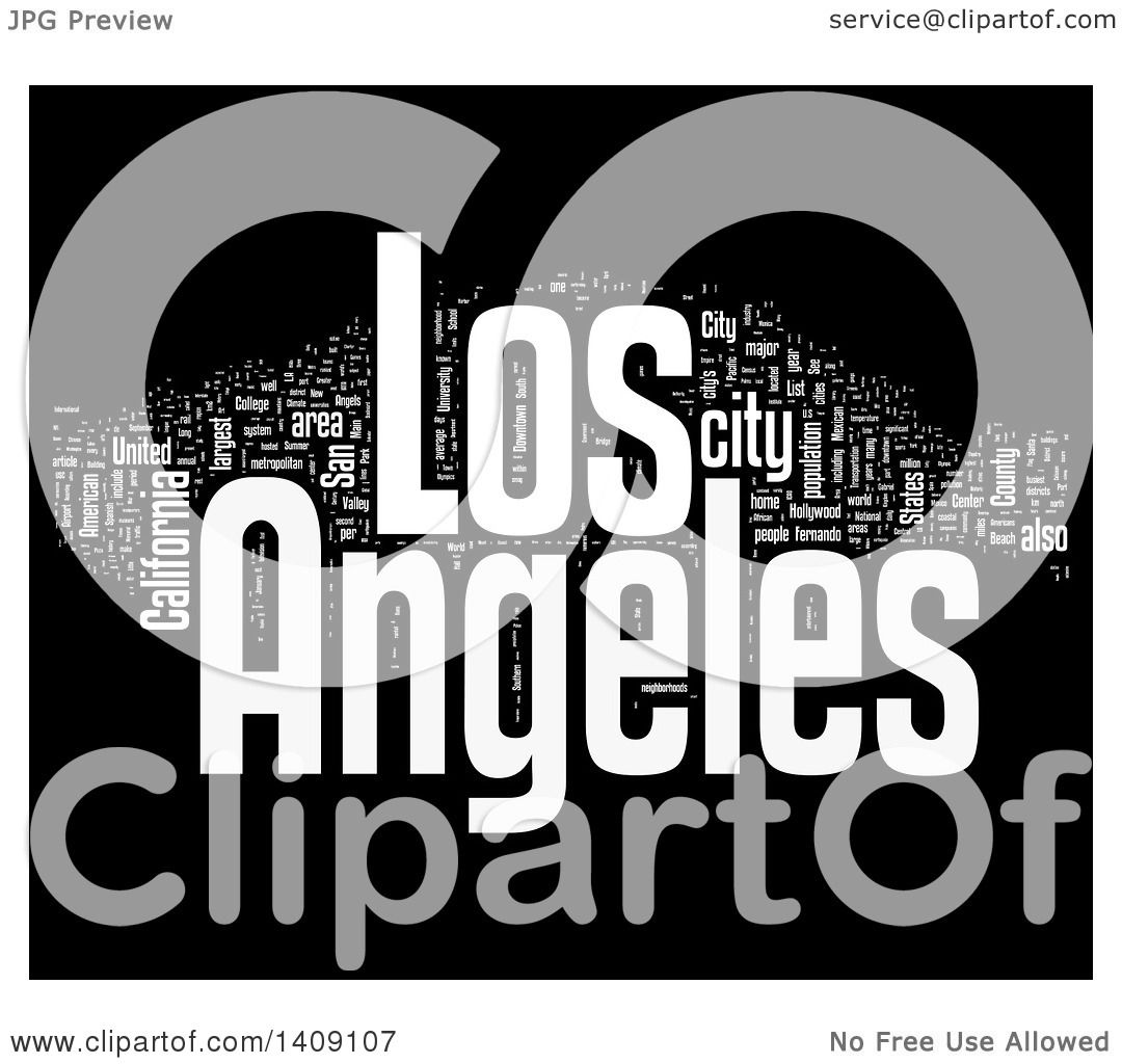 Clipart Of A White Los Angeles Word Collage On Black Royalty - Los angeles poster black and white