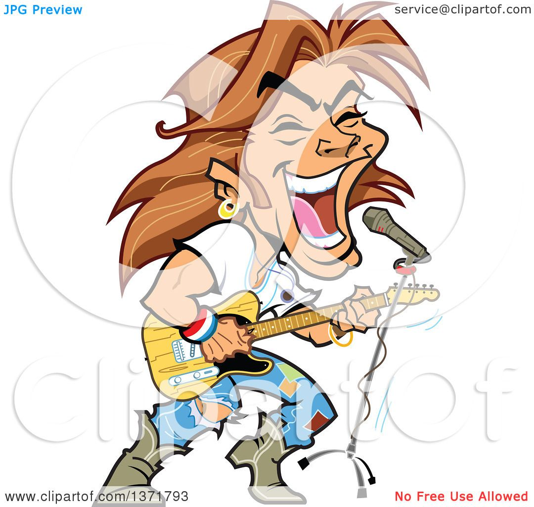 Clipart Of A White Male Rock Star Singing And Playing A