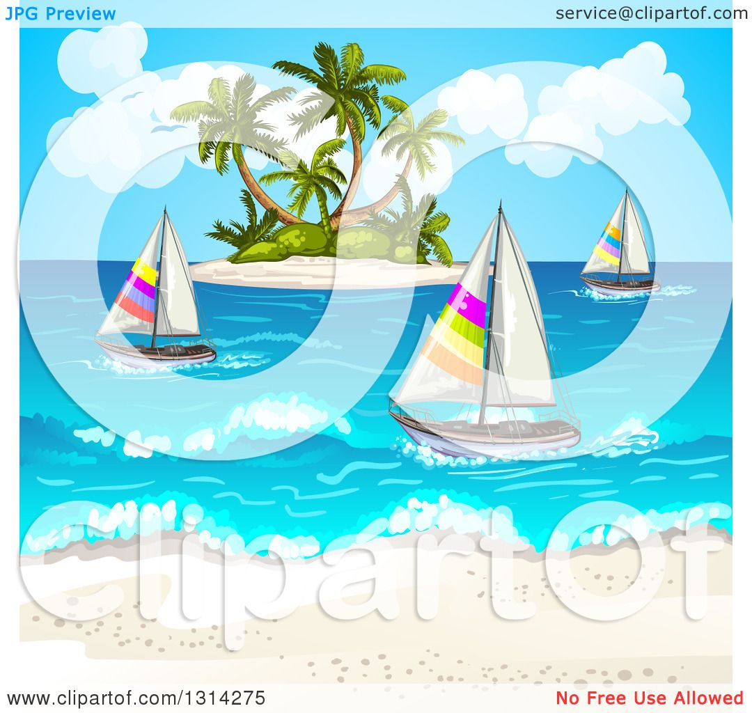 Tropical Island Yacht Clipart Of A White Sand Beach With Sailboats And A Tropical Island
