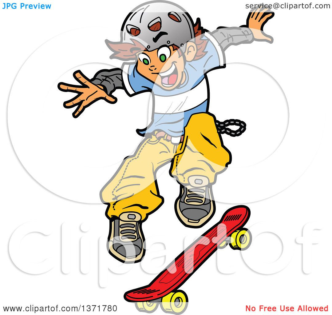 Clipart Of A White Teen Skater Boy Jumping - Royalty Free Vector ...
