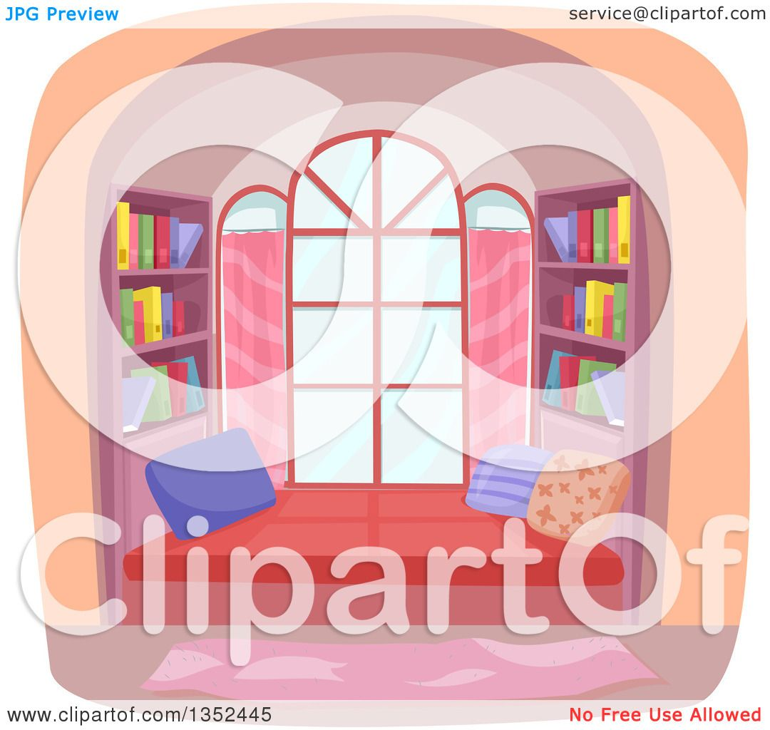 Clipart of a window library nook royalty free vector for Window design clipart