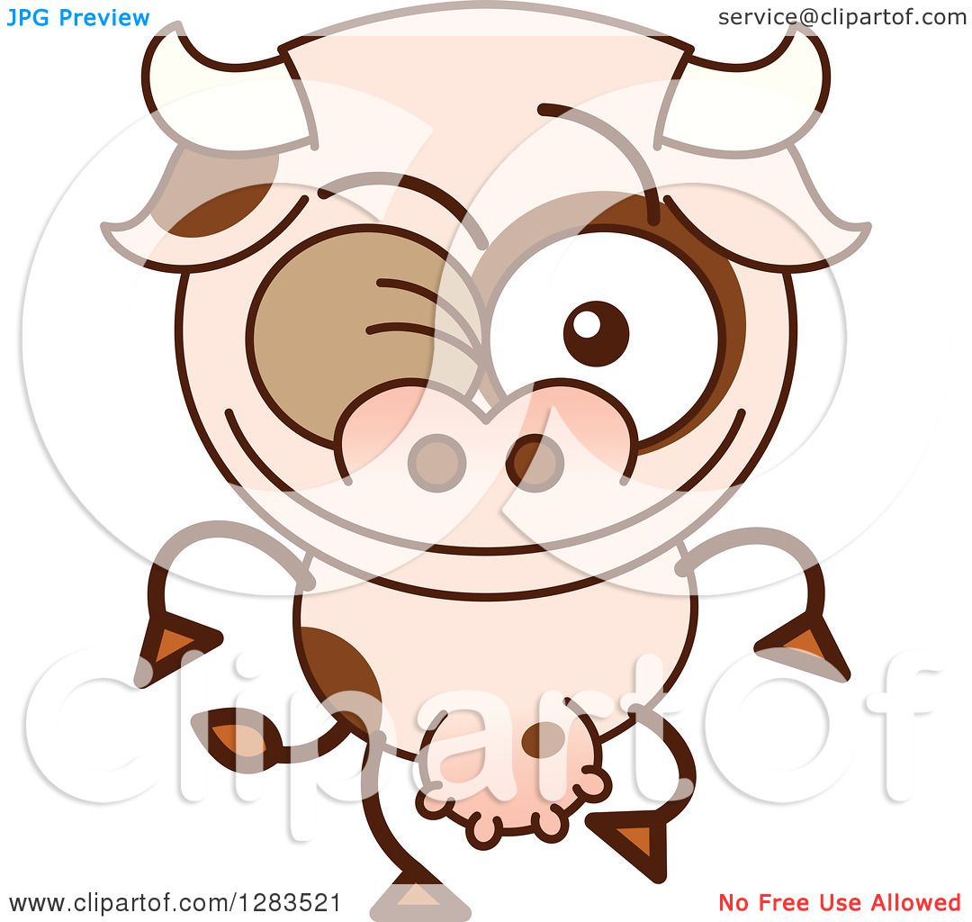 clipart of a winking cartoon cow royalty free vector