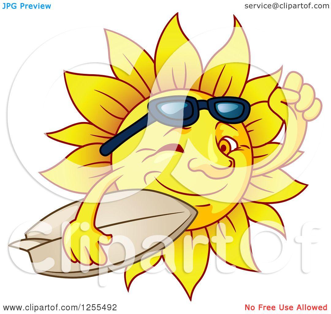 Clipart of a Winking Summer Sun Carrying a Surfboard ...