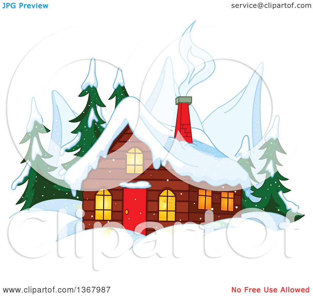 Clipart Of A Winter Cabin With Smoke Rising From The Chimneys Mountain Peaks And Evergreens Royalty