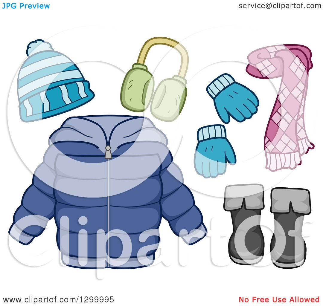 Clipart Of A Winter Coat Scarf Boots Mittens Hat And