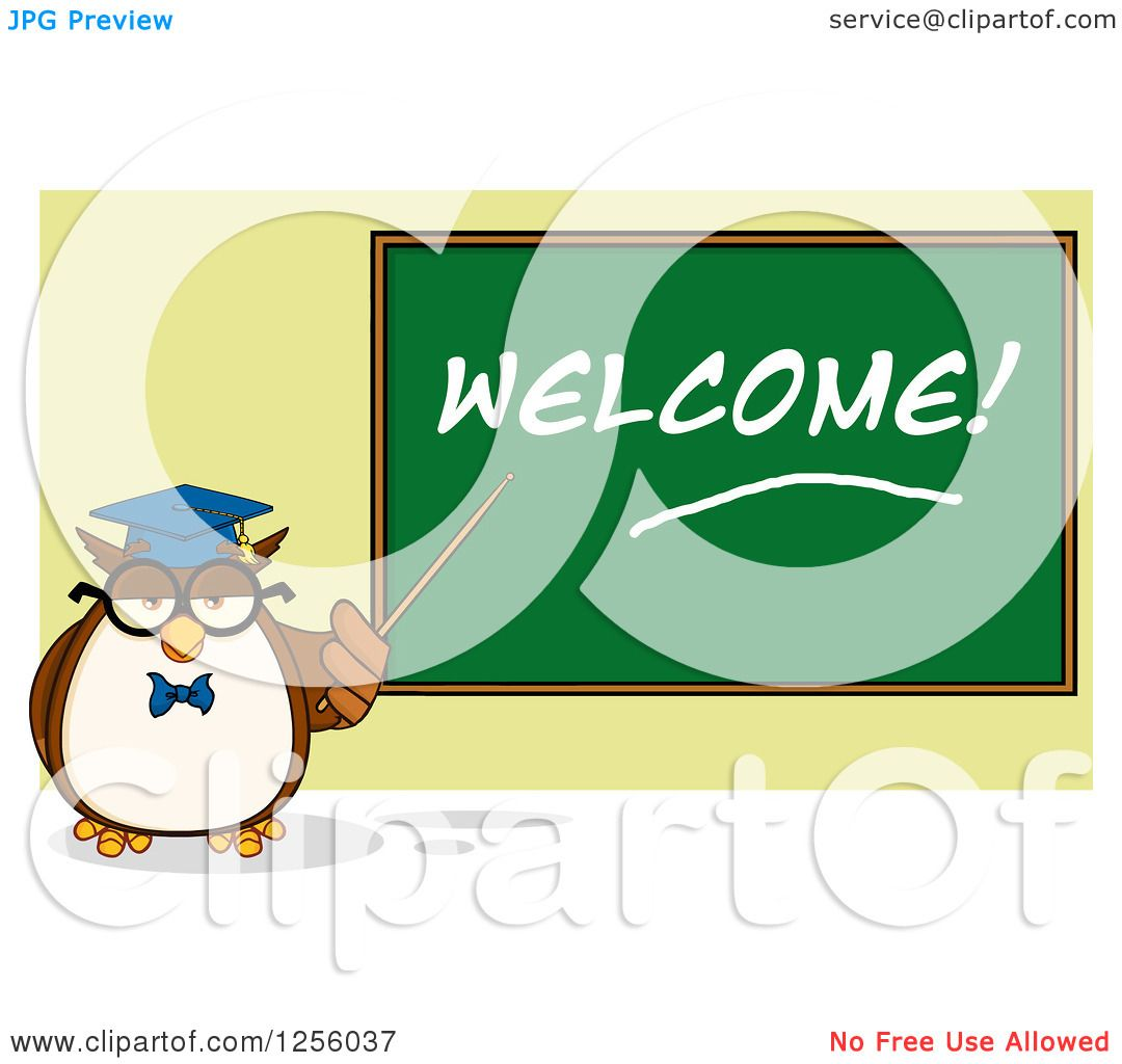 Clipart of a Wise Professor Owl Pointing to a Welcome ...