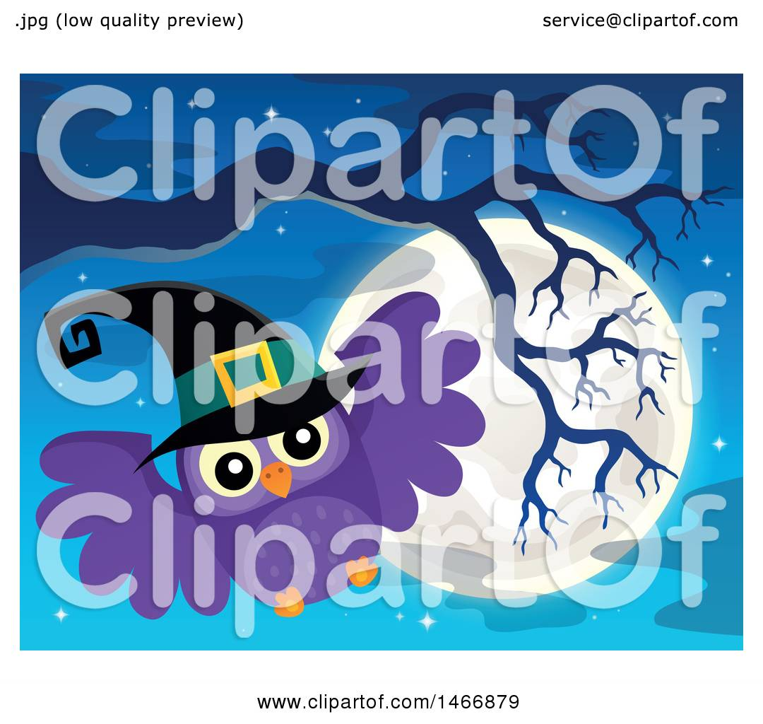 Clipart of a Witch Owl and Full Moon - Royalty Free Vector ...