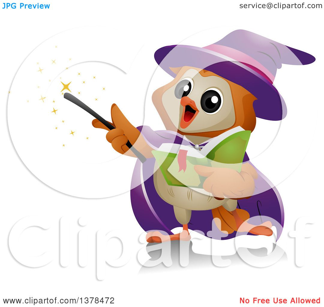 Clipart of a Wizard Owl Performing Magic - Royalty Free Vector ...