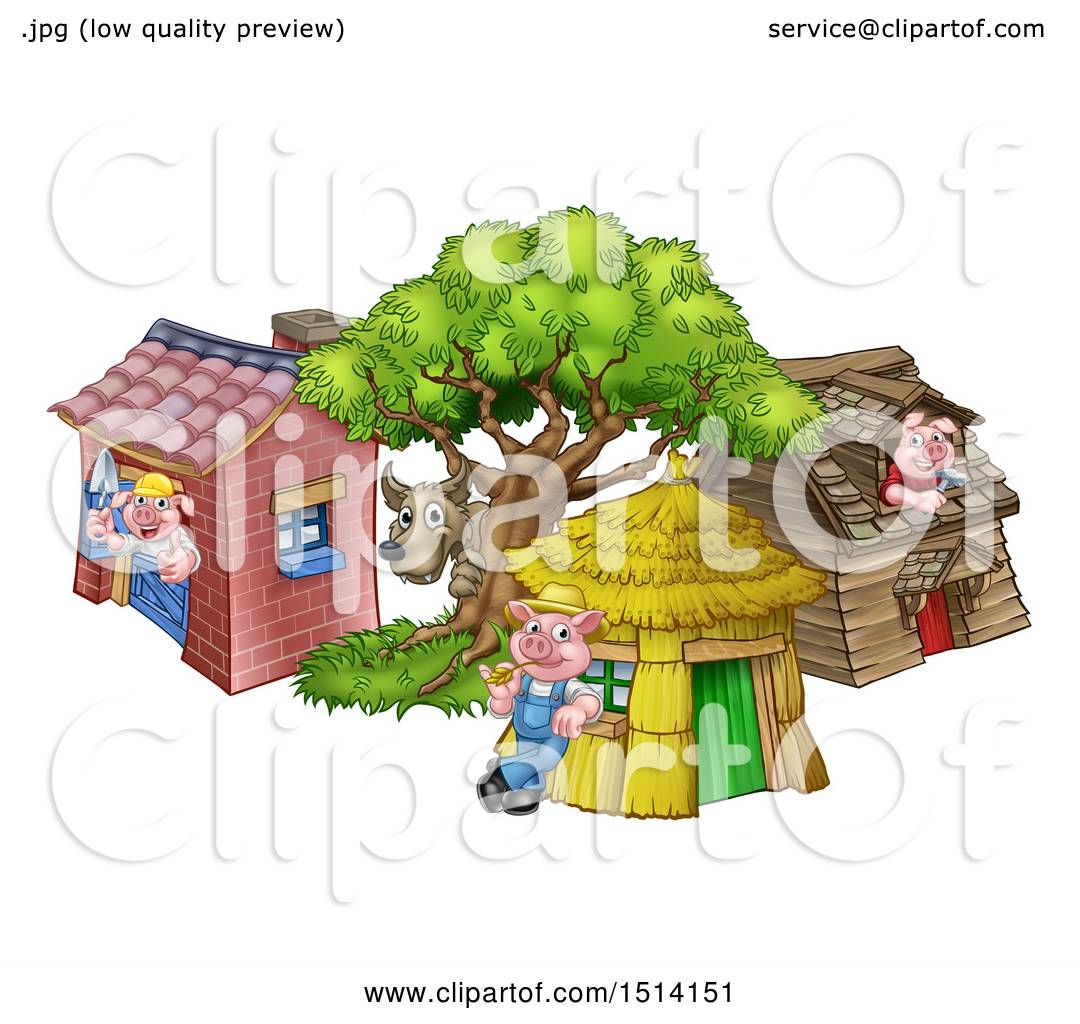 Clipart Of A Wolf And Piggies At Their Brick, Wood And Straw Houses    Royalty Free Vector Illustration By AtStockIllustration