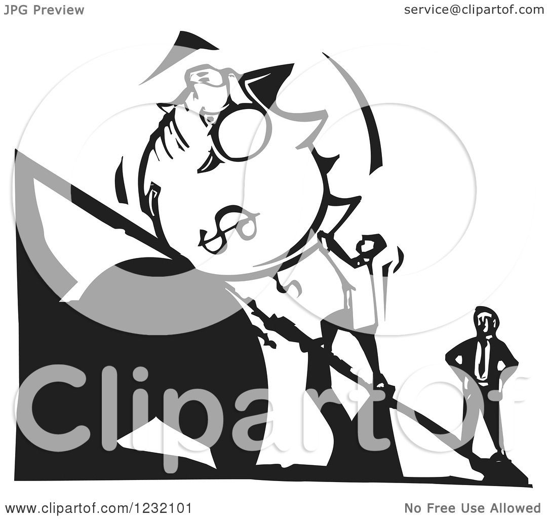 clipart of a woodcut black and white man pushing a dollar piggy