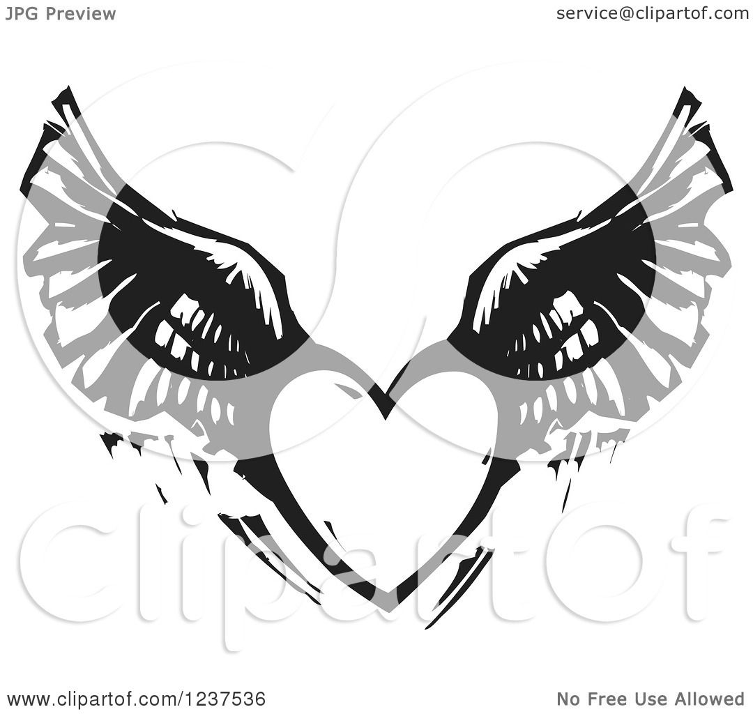 Clipart of a Woodcut Flying Winged Heart in Black and ...