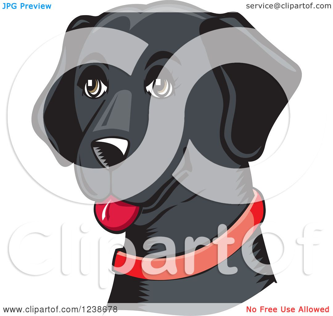 Clipart of a Woodcut Happy Black Lab Dog with a Red Collar ...