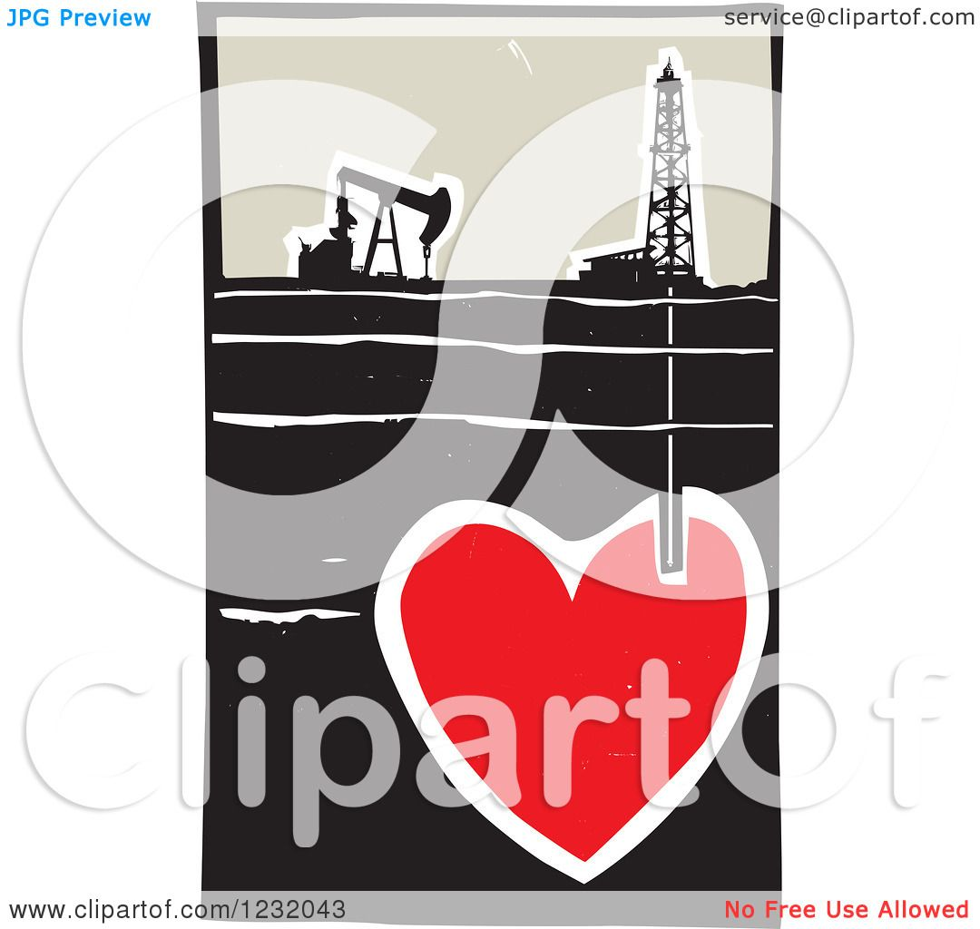 Clipart Of A Woodcut Oil Rig And Drilling For Blood In A