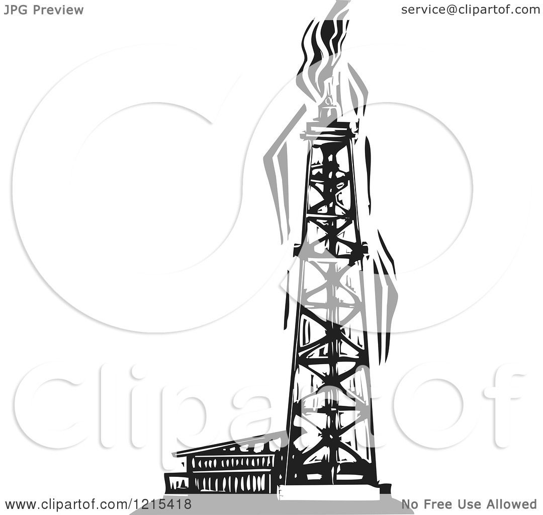 Clipart of a Woodcut Oil Well in Black and White - Royalty Free ...