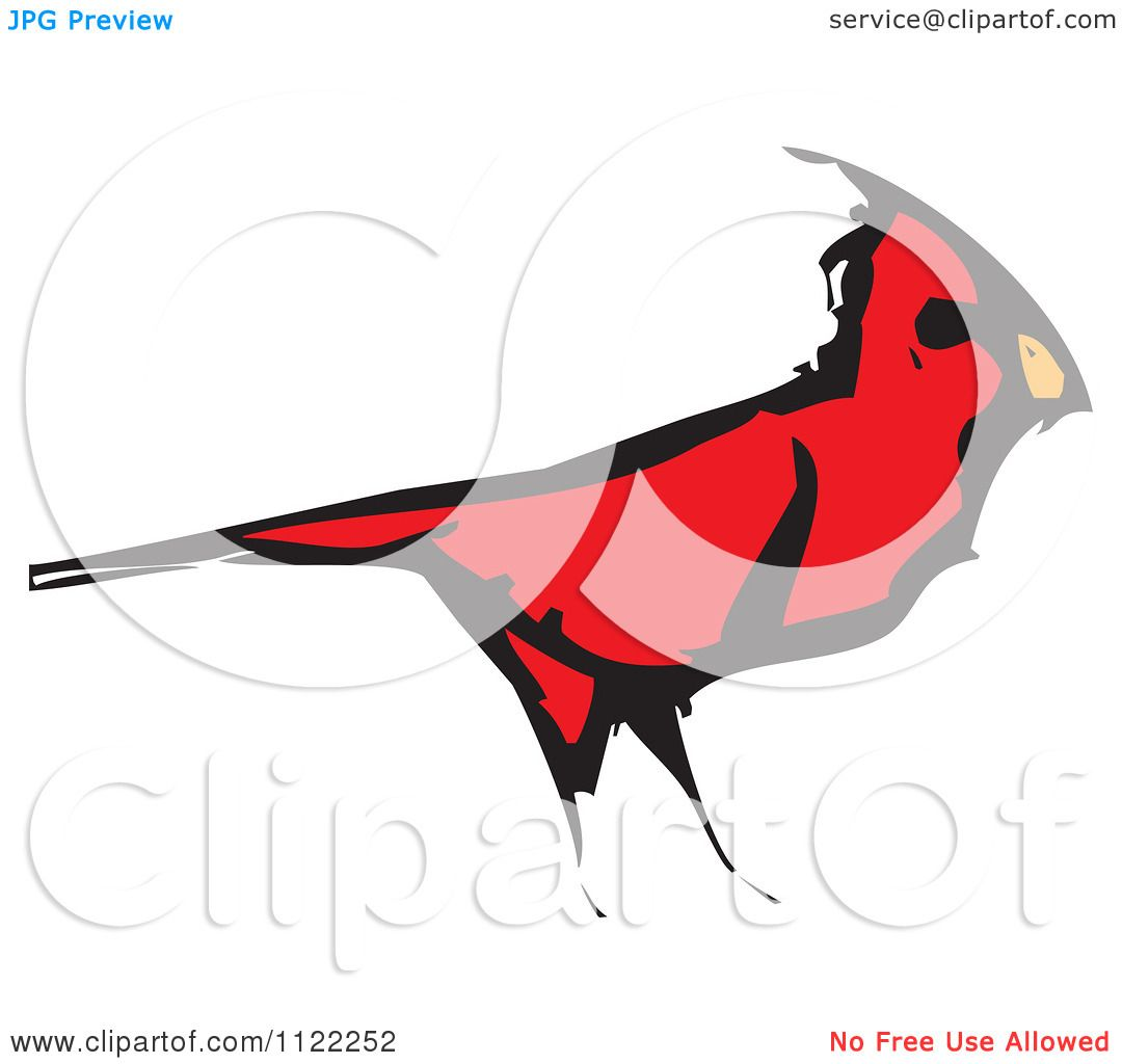 Clipart Of A Woodcut Red Cardinal Bird - Royalty Free Vector ...