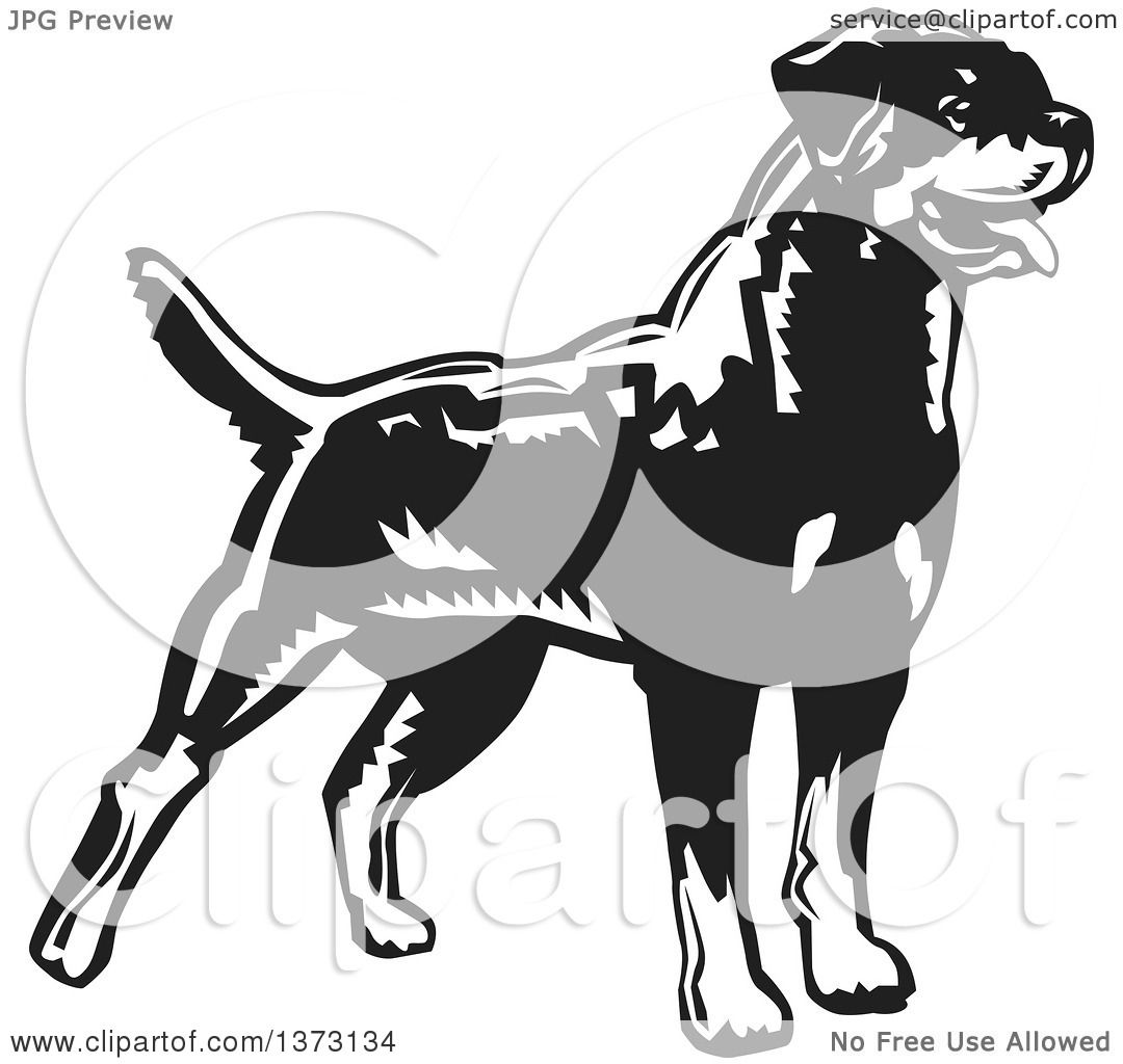 Clipart of a Woodcut Standing Alert