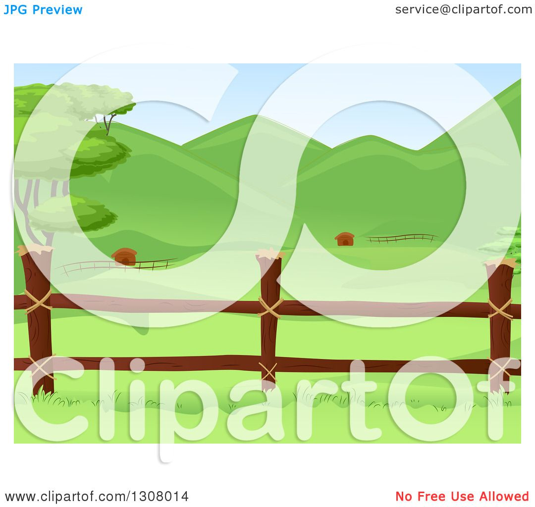 Farm Fence Clipart clipart of a wooden farm pasture fence with lush green hills in