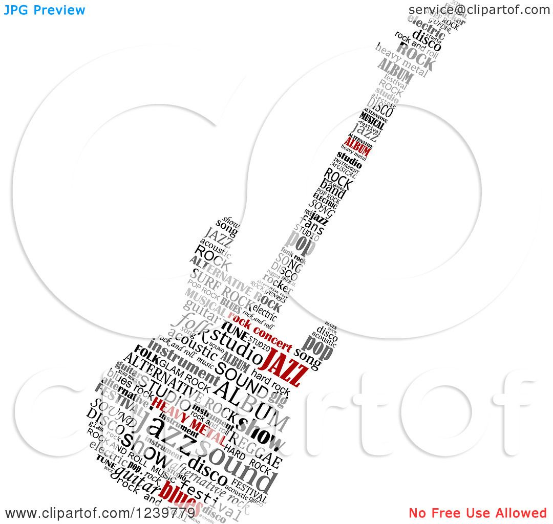 clipart of a word collage electric guitar