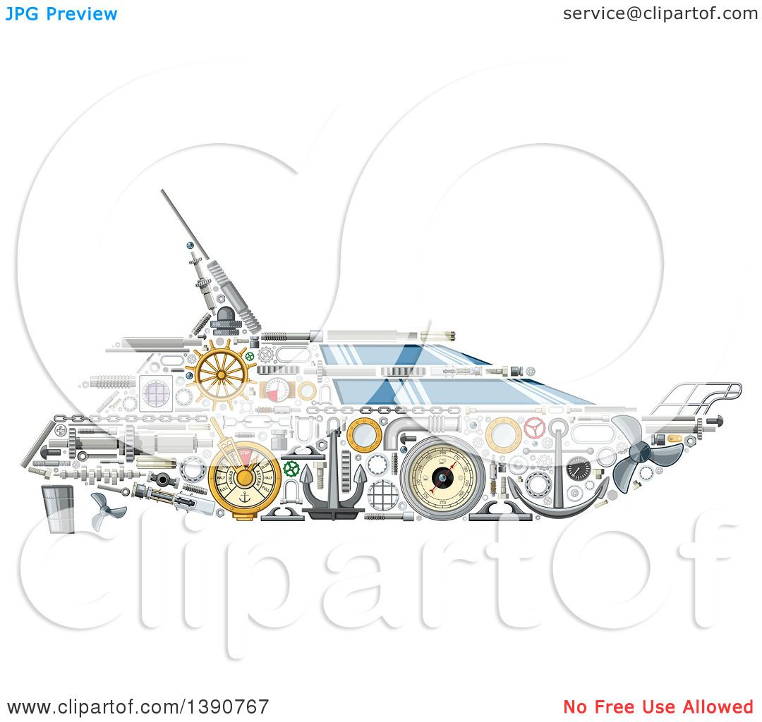 Clipart of a Yacht Made of Mechanical Parts - Royalty Free