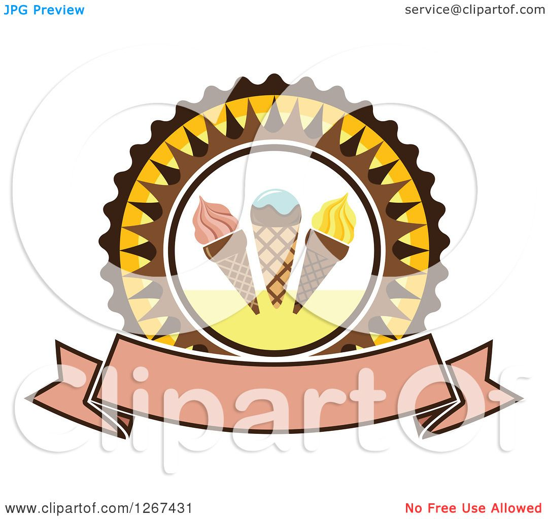 Clipart of a Yellow and Brown Ice Cream Cone Badge with a ...