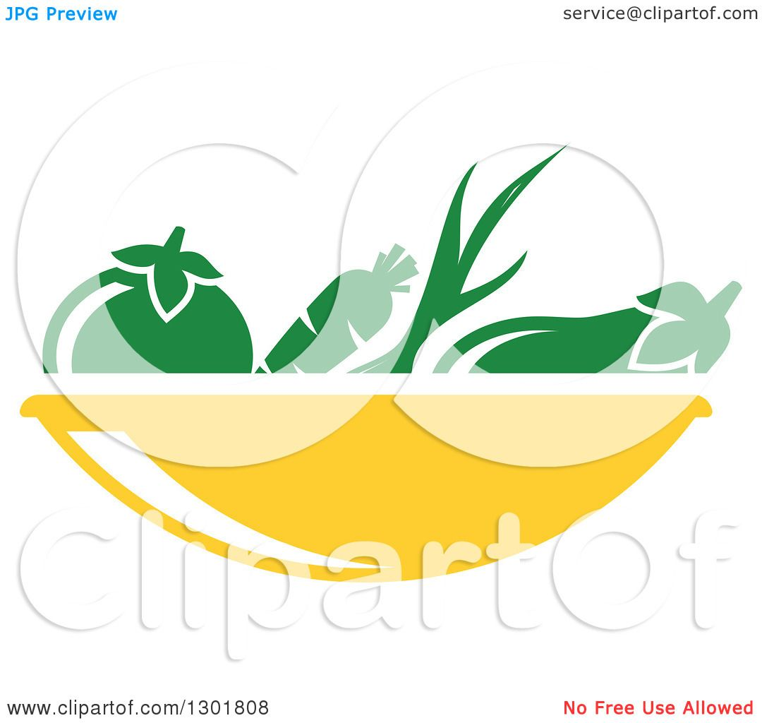 Clipart of a Yellow Bowl and Green Produce Vegetarian Food ...