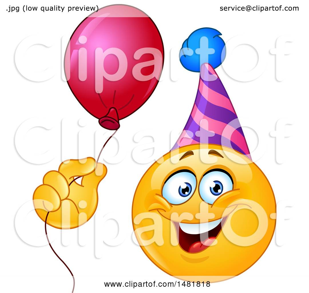 clipart of a yellow emoji smiley face wearing a party hat and rh clipartof com Girl Smiley Face Clip Art Girl Smiley Face Clip Art