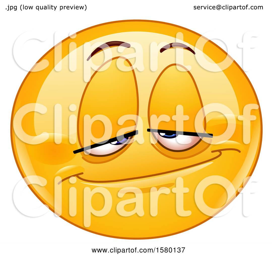 Clipart Of A Yellow Emoji Smiley Face With A Stoned Expression