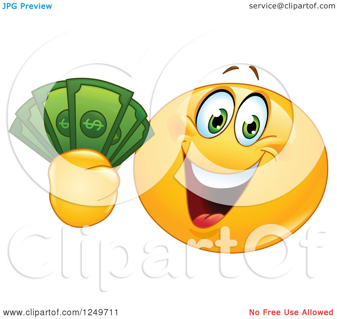 Clipart Of A Yellow Emoticon Smiley Holding Up Cash Money Royalty Free Vector Illustration 10241249711