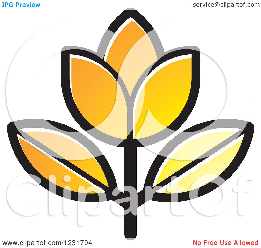 Clipart Of A Yellow Flower Icon Royalty Free Vector Illustration