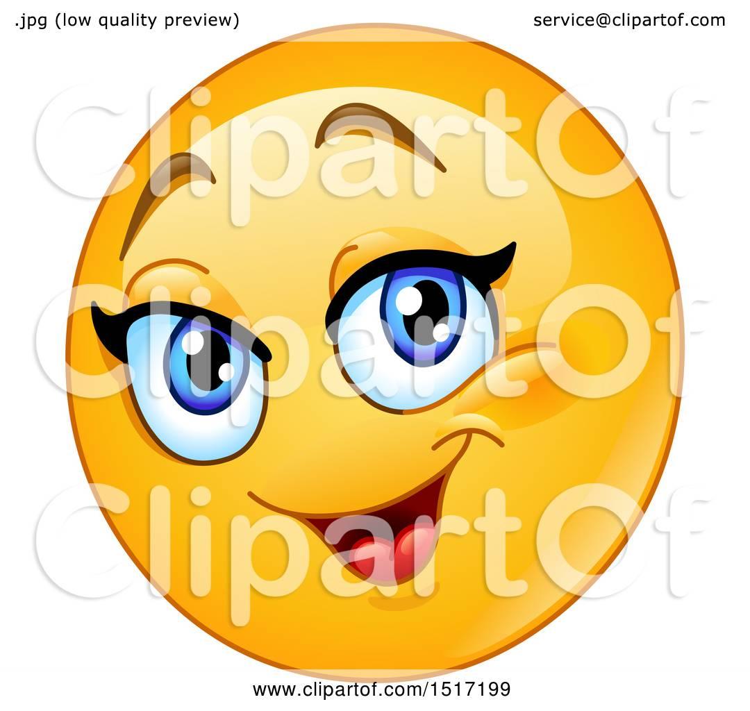 clipart of a yellow happy female emoji royalty free vector rh clipartof com