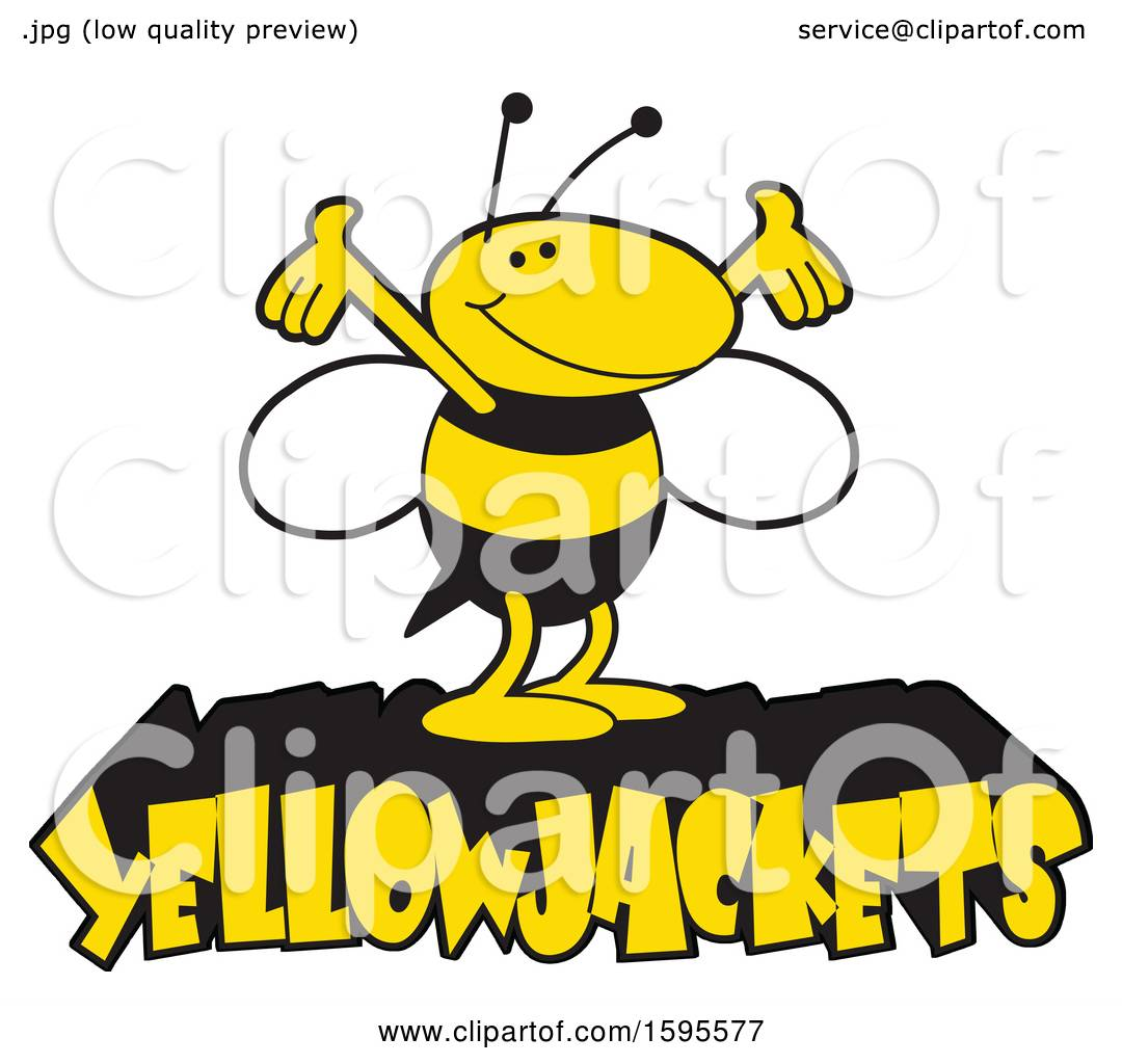 Clipart Of A Yellow Jacket School Mascot Over Text Royalty Free