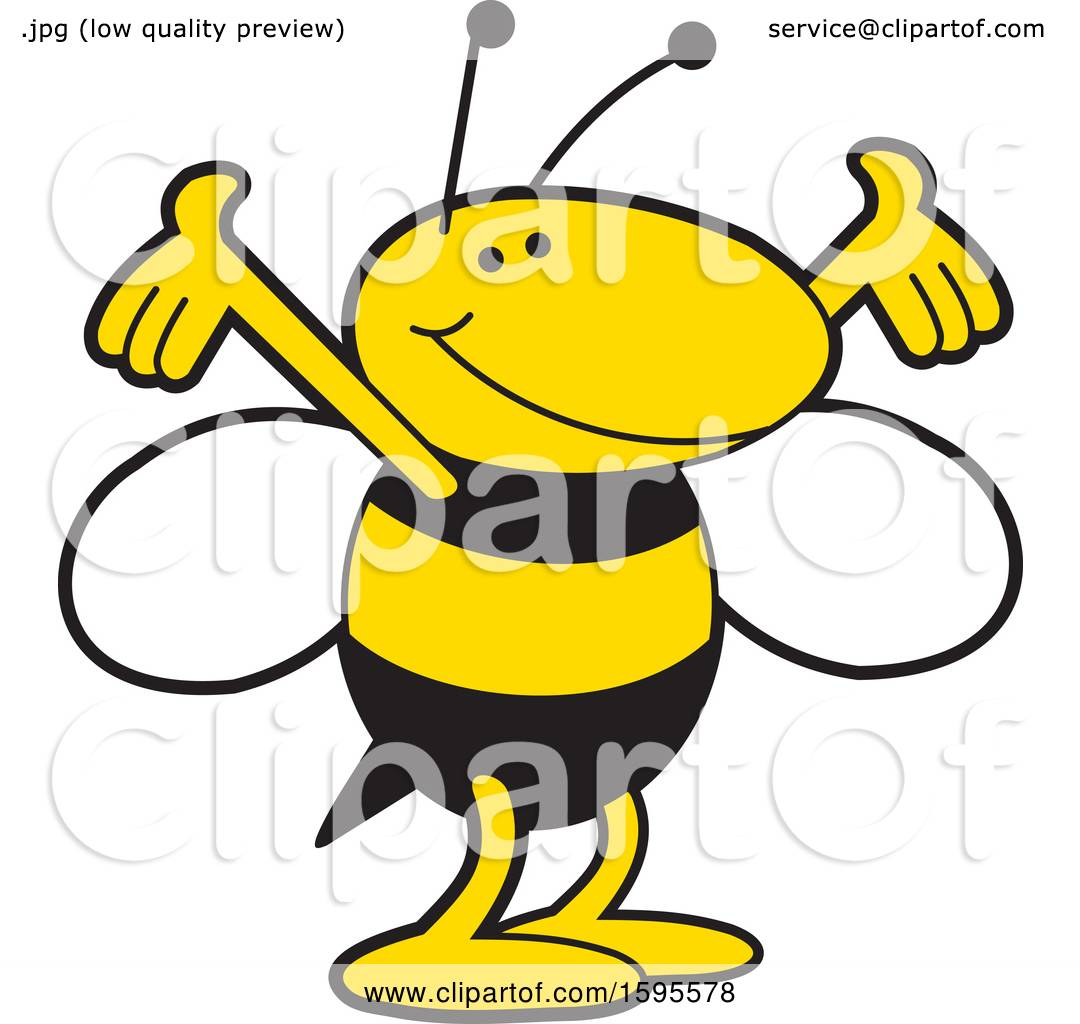 Clipart Of A Yellow Jacket School Mascot Royalty Free Vector
