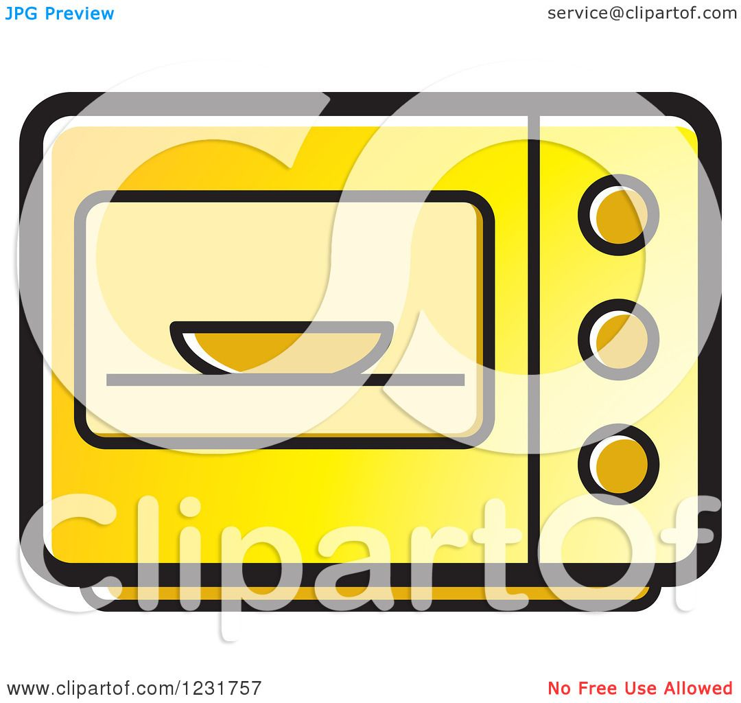 Clipart of a Yellow Microwave Icon - Royalty Free Vector ...