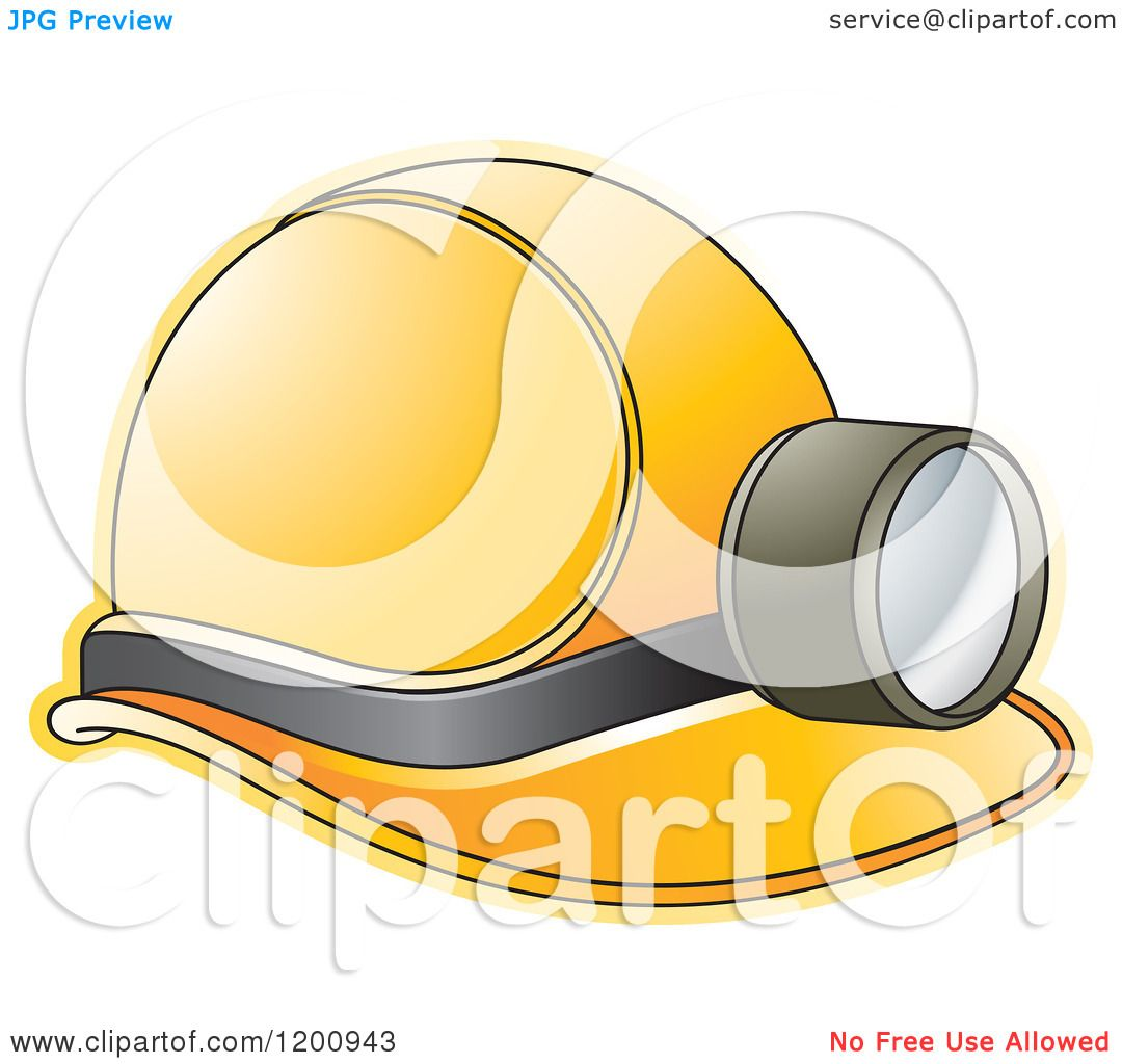 Clipart of a Yellow Mining Helmet and Lamp - Royalty Free Vector ...