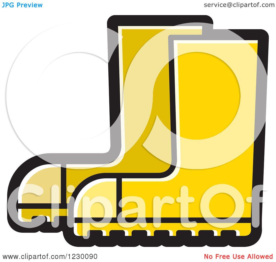 Rain Boots Clip Art Clipart of a yellow rubber