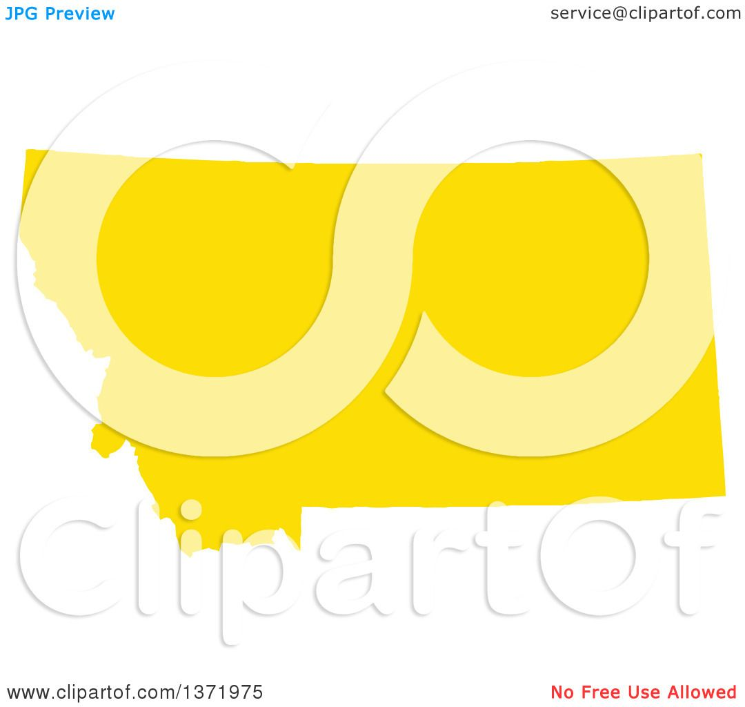 Clipart Of A Yellow Silhouetted Map Shape Of The State Of Montana - Montana us map