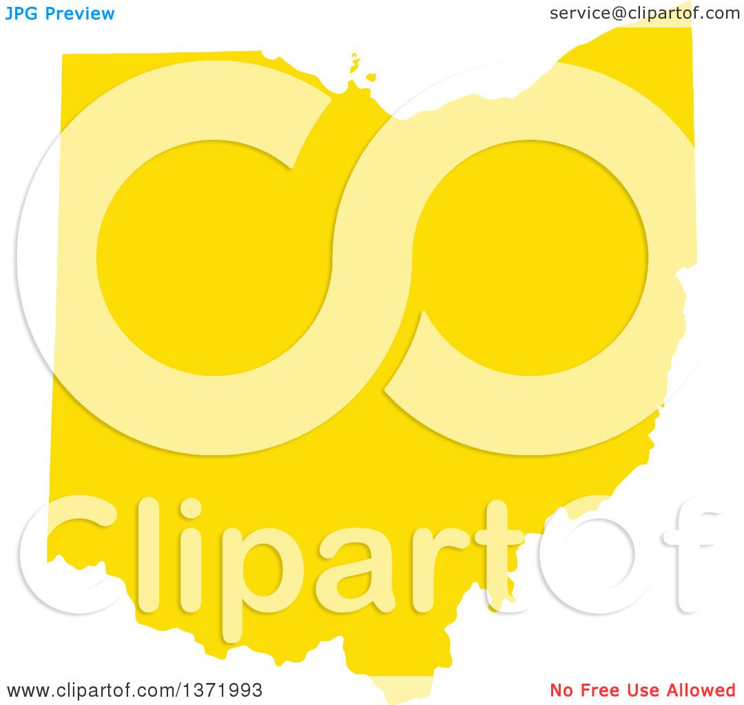 Clipart Of A Yellow Silhouetted Map Shape Of The State Of Ohio United States Royalty Free Vector Ilration By Jamers