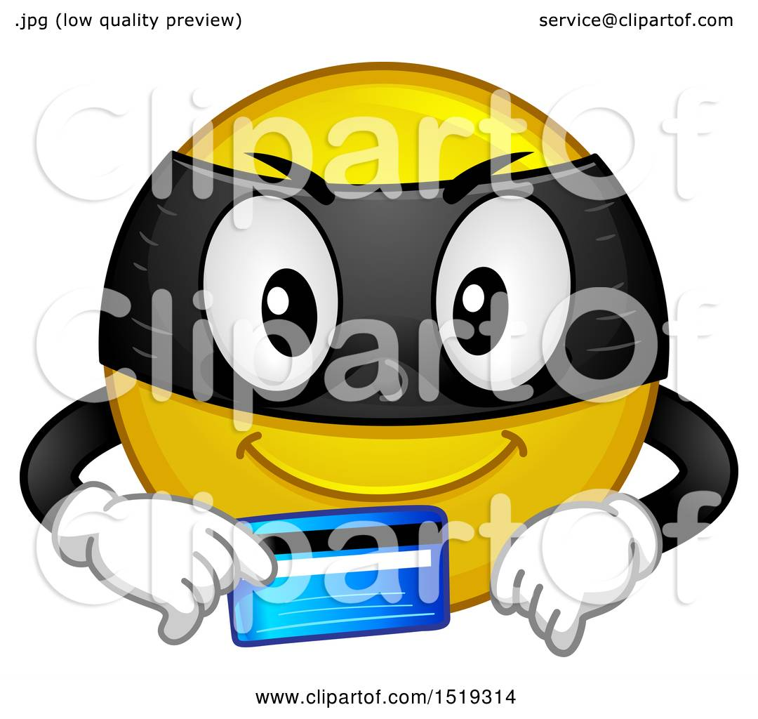 Clipart Of A Yellow Smiley Emoji Thief Holding A Credit