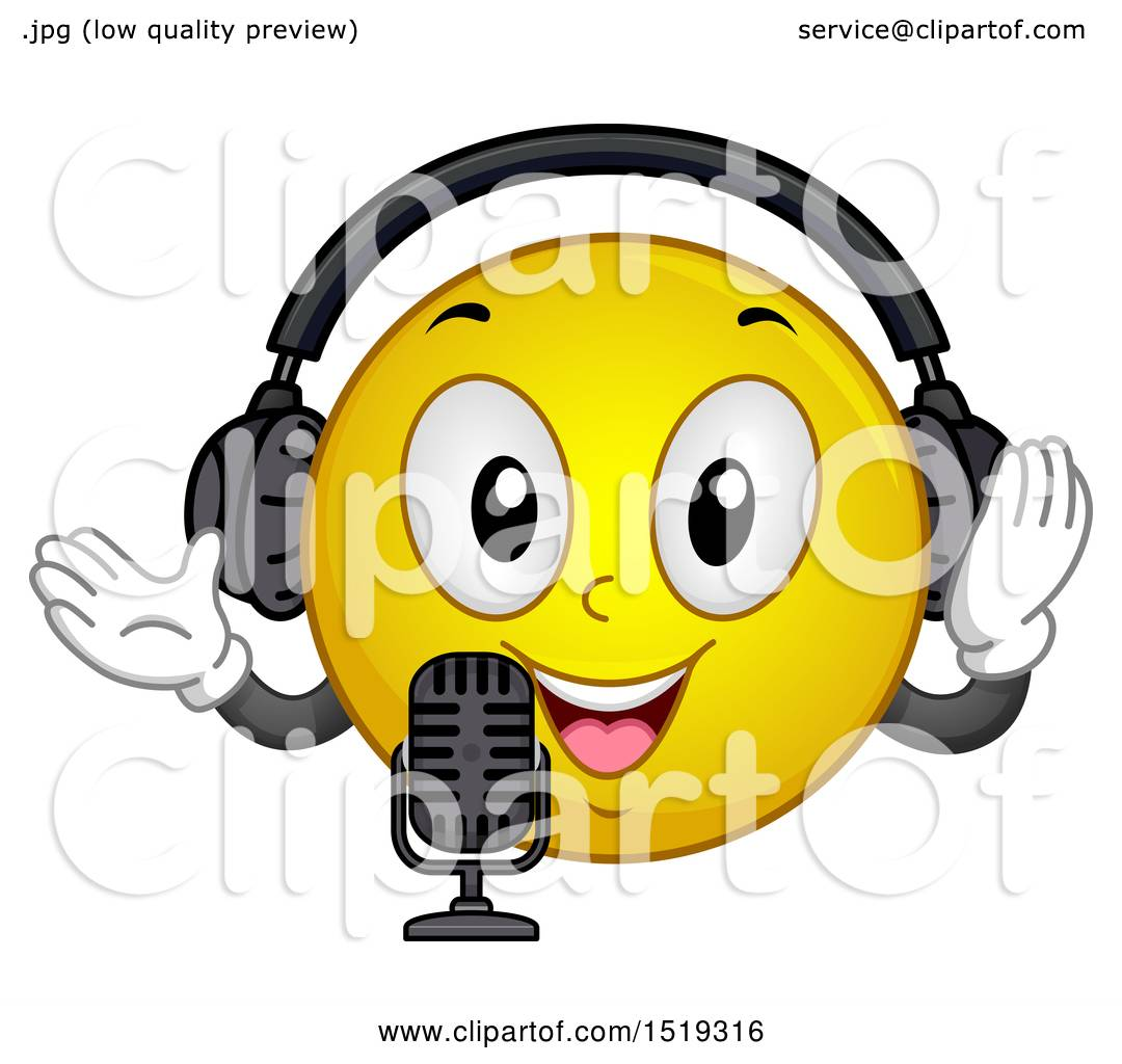 Clipart of a Yellow Smiley Emoji Wearing Headphones and