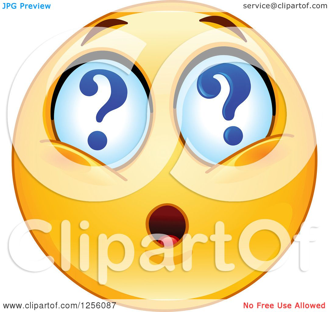 Clipart Of A Yellow Smiley Emoticon With Question Mark