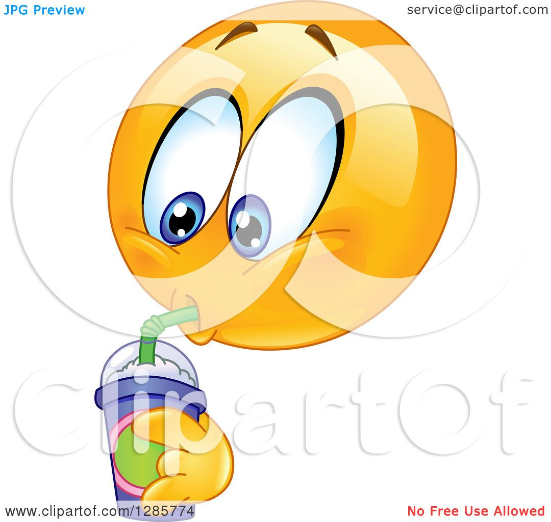 Clipart of a Yellow Smiley Face Emoticon Drinking a ...  Clipart of a Ye...