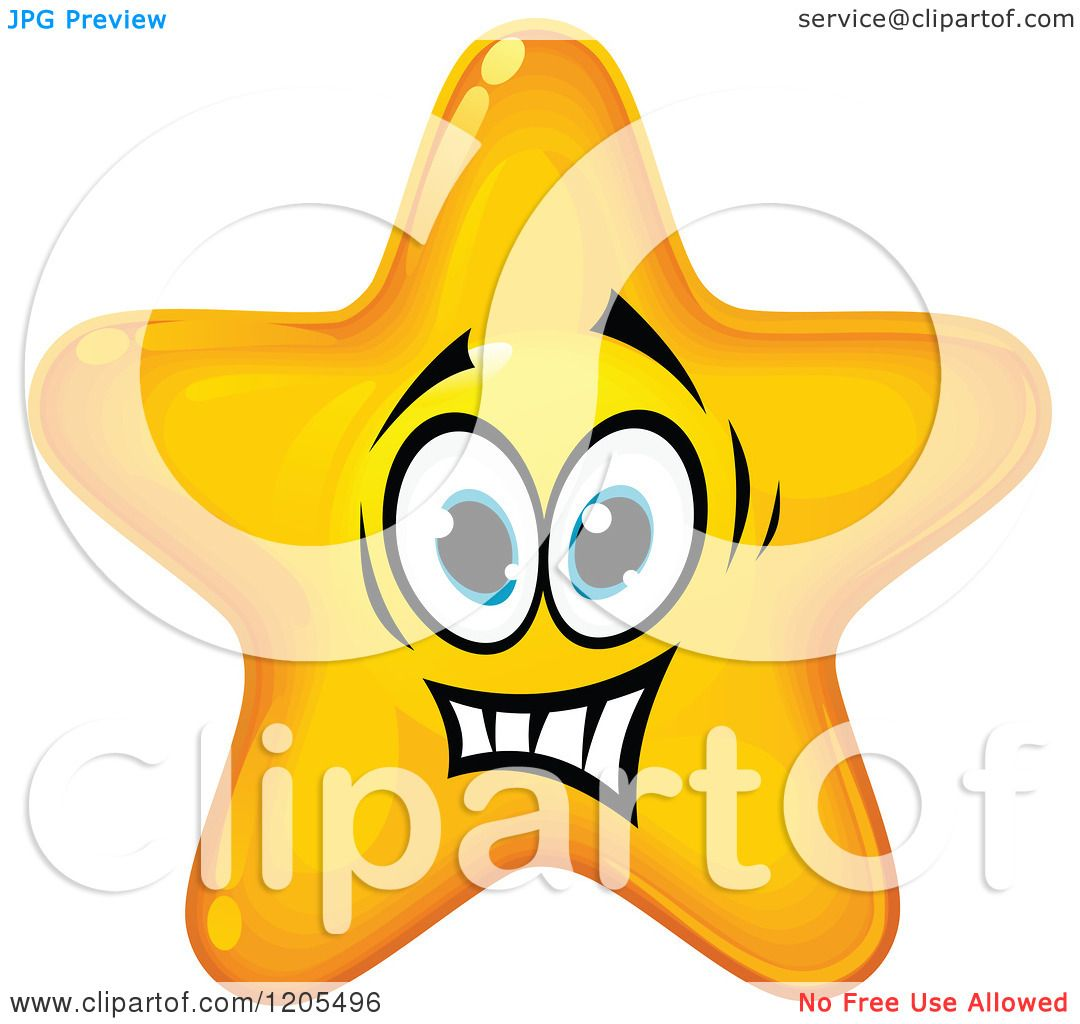 Clipart of a Yellow Star Making a Nervous Face - Royalty ...